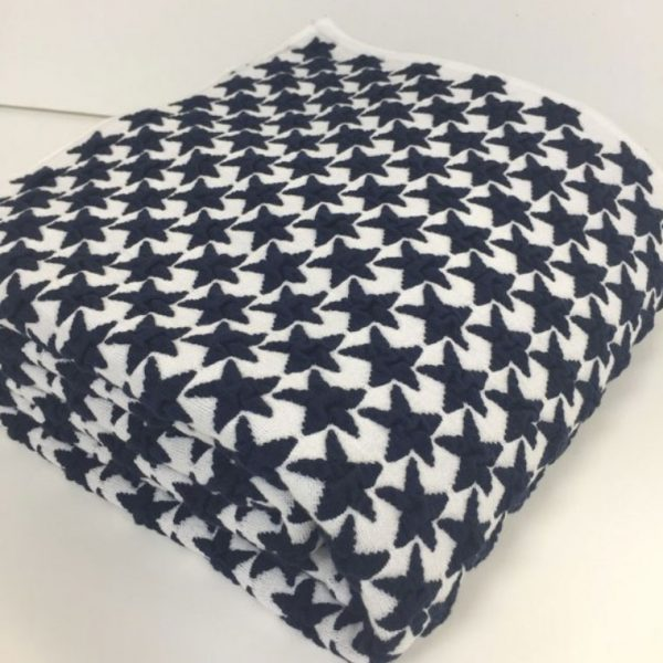 Navy and White Star Snug Throw