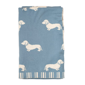 Dachshund Knitted Throw - Blue 1