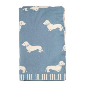 Dachshund Knitted Throw - Blue 1