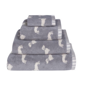Emily Bond Dachshund Towels in Grey