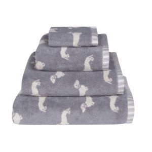 Emily Bond Dachshund Towels in Grey