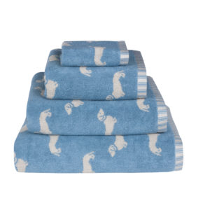 Emily Bond Dachsund Towels Blue