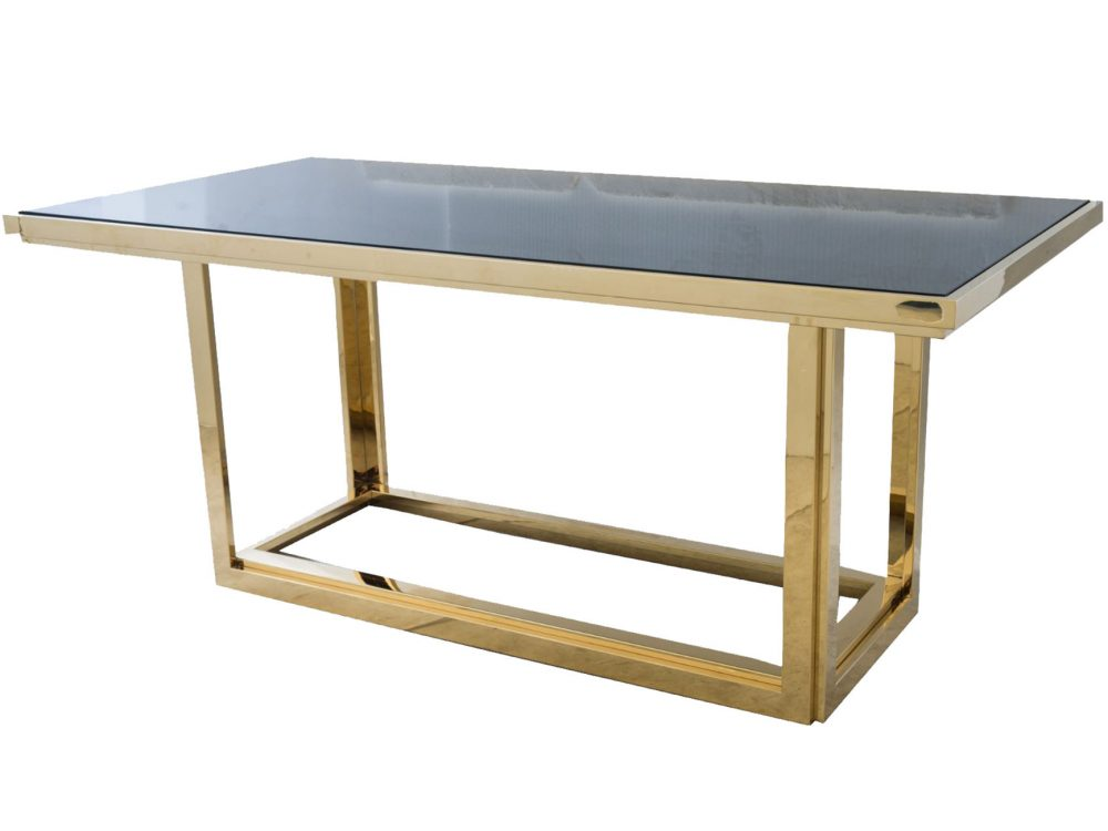 Gatsby Rectangular Gold Dining Table With Smoked Glass Louise